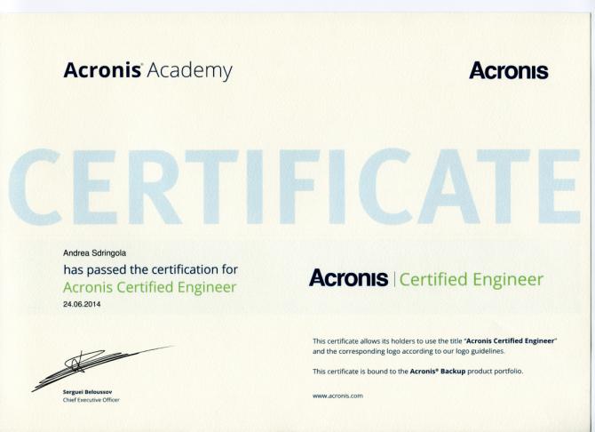 Acronis Autorized Partner - Acronis Certified Engineer